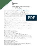 Clasificación de Leasing Financiero y Operativo