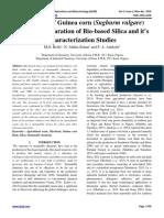 Utilization of Guinea corn (Sughurm vulgare) Husk for Preparation of Bio-based Silica and it's Characterization Studies