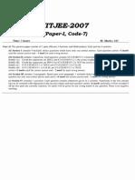 IIT JEE 2007 Hindi Paper 1 Instruction