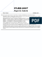 IIT JEE 2007 Hindi Paper 2 Instruction