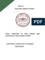 Limitation of Tidal Energy