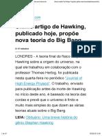 Último artigo de Hawking, publicado hoje, propõe nova teoria do Big Bang