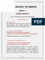 Lesson 02 - Terminology of Hadith