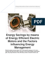 Energy Savings by Means of Energy Efficient Electric Motors and the Factors Influencing Energy Management