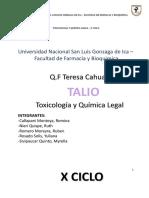 Talio - Toxicologia y Quimica Legal - x Ciclo