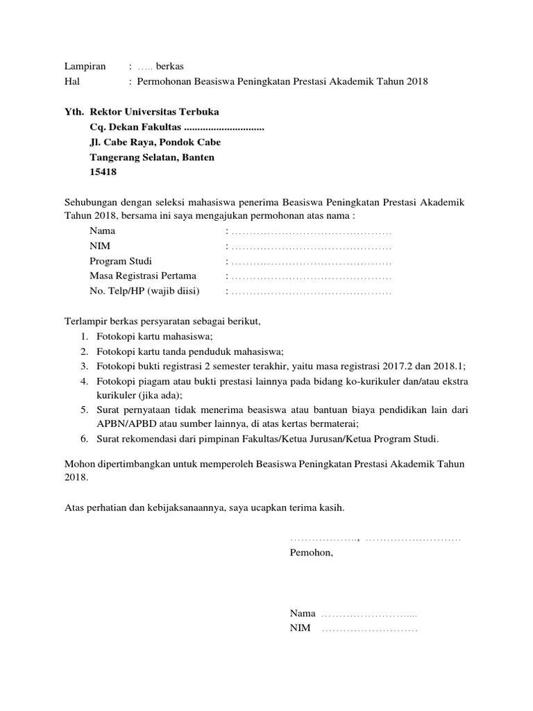 Surat Permohonan Beasiswa Ppa 2018
