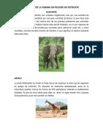 Animales de La Sabana en Peligro de Extincion