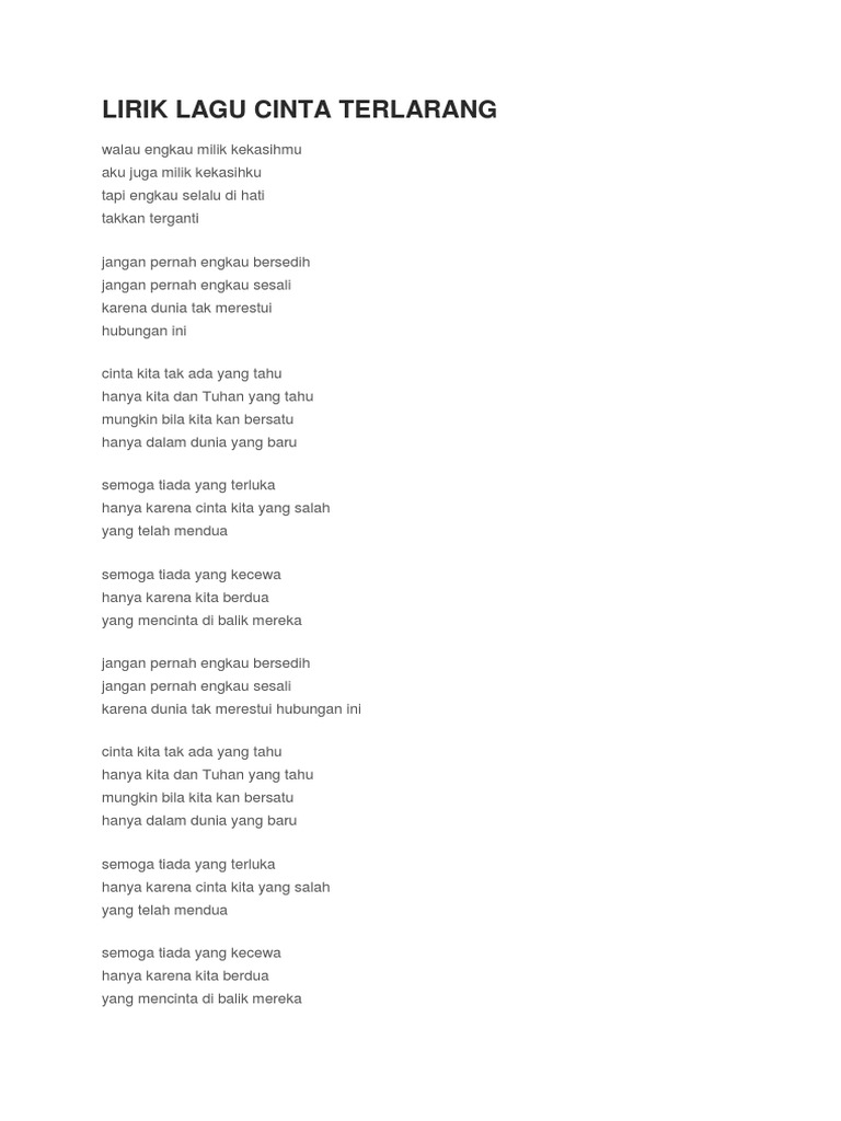 Lirik Lagu Cinta Terlarang Antara Kita