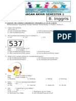 Soal UAS Bahasa Inggris Kelas 4 SD Semester 1 (Ganjil) Dan Kunci Jawaban (Www.bimbelbrilian.com)