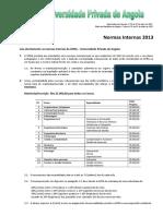 Matriculas Normas Internas 2013
