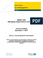 MGMT 1001 S 1 2017 Business Course Outline Part a S1 2017