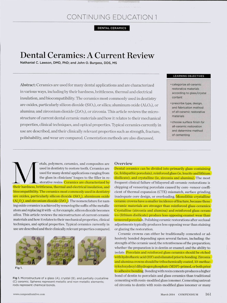 Dental Ceramics A Current Review 1 Ceramics Glasses