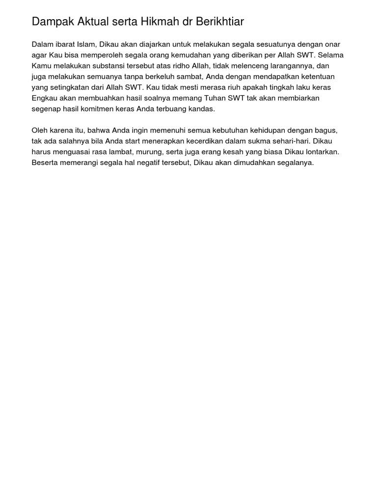Dampak Aktual Serta Hikmah Dr Berikhtiar
