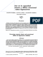 Límites en La Capacidad de Procesamiento y Déficit Atencional en Niños Hiperactivos