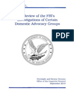 A Review of the FBI's Investigations of Certain Domestic Advocacy Groups