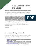 Principios de Química Verde e Ingeniería Verde