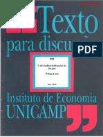 Desindustrialização - Wilson Cano