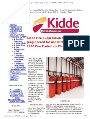 Kidde Fire Suppression System Engineered For Use With 3m Novec 1230 Fire Protection Fluid Pdf Firefighting Fires