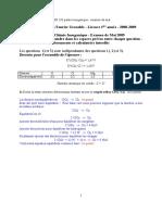2009 Examen de chimie Mai Solve