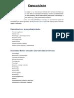 Especialidades Farmacia
