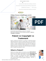 Patent vs Copyright vs Trademark