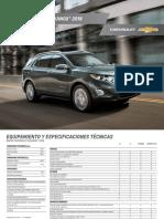 Especificaciones Chevrolet Equinox 2018