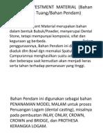 Dental Investment Material (Bahan Tanam Tuang)