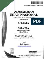 Pembahasan Soal UN Matematika SMA IPA 2017 Paket 2
