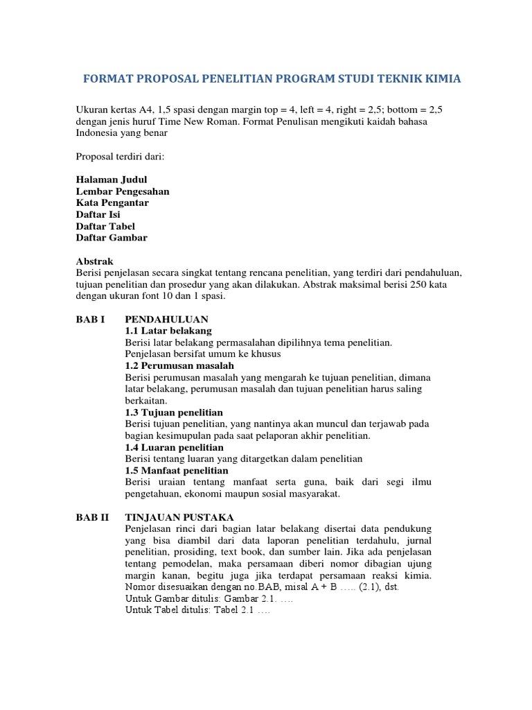 Format Proposal Penelitian Program Studi Teknik Kimia