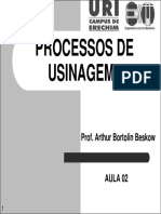 Processos de Usinagem i - Aula 02 - Processos Convencionais de Usinagem