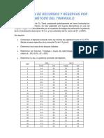 Estimación de Recursos y Reservas Por El Método Del Triangulo