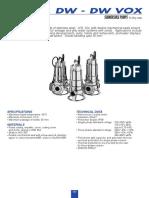 Curvas y Especificaciones Técnicas Ebara Dw