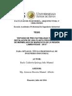 """""""Estudio de Pre-factibilidad Para La Instalación de Una Planta Procesadora de Mermelada de Maracuy"""
