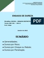 ENSAIOS -Ensaio de Dureza