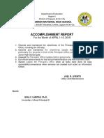 Accomplishment Report Joel Ayento