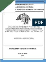 Aplicación Del Planeamiento Financiero y Su Influencia en La Situación Económica Financiera en La Empresa Transportes San Felipe s.a. Trujillo 2017