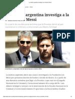 La Justicia Argentina Investiga a La Fundación Messi