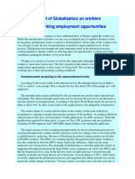 Impact of Globalisation on Workers Shrinking Employment