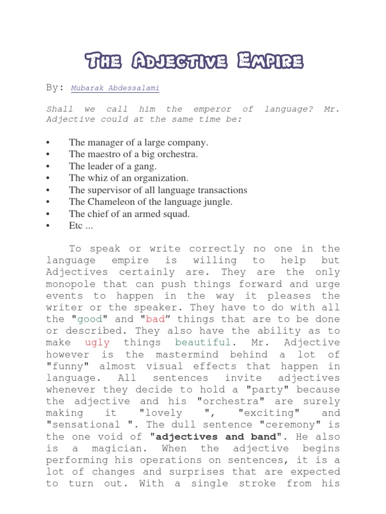Fun With Adjectives | Adverb | Noun