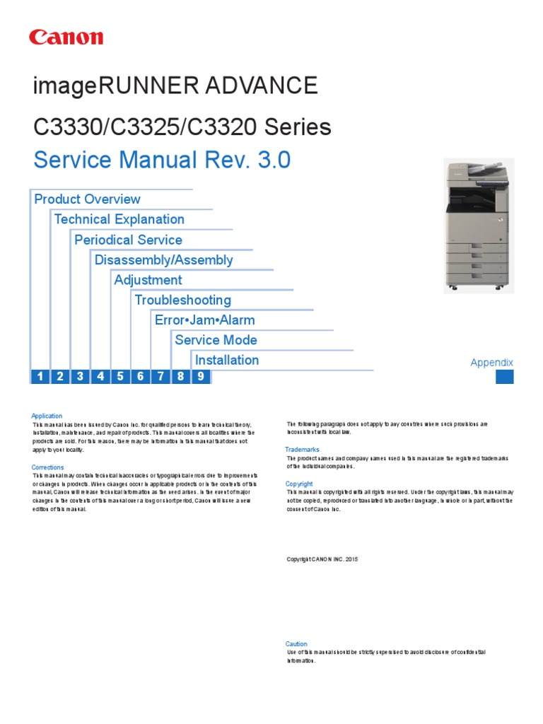CANON PRINTER SERVICE MANUAL imagerunner_advance_c3325_series pdf
