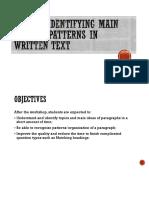 Identifying Main Ideas & Patterns in Written Text