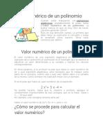 Deficinicion Valor Numérico de Un Polinomio