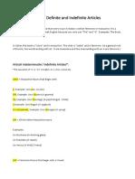 Italian Definite and Indefinite Articles