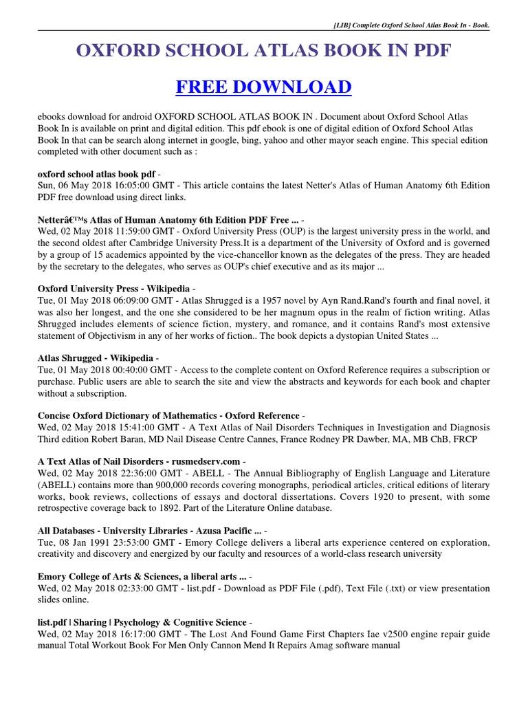 oxford school atlas book in  pdf | Oxford University Press | Ayn Rand