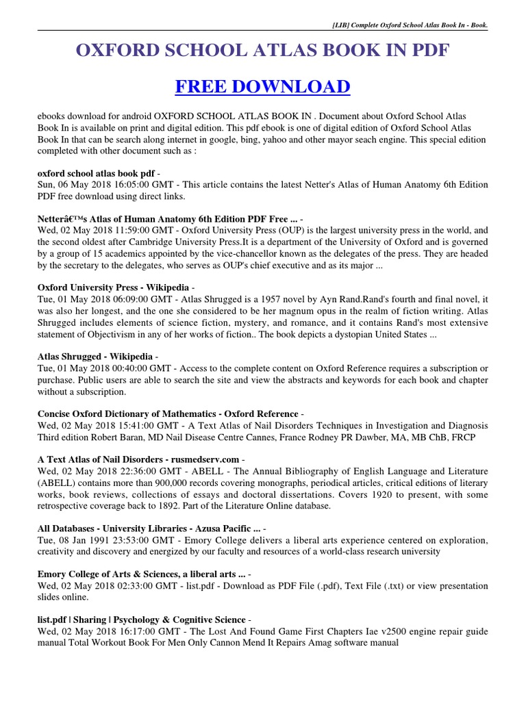 oxford school atlas book in  pdf | Oxford University Press