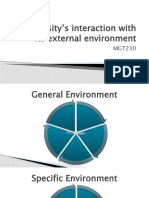 University's interaction with its external environment