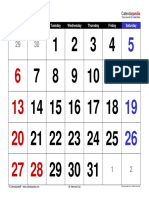 May 2018 Calendar Large Numerals