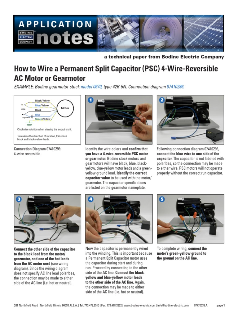 How to Wire a Permanent Split Capacitor (PSC) 4-Wire ...  Lead Motor Wiring Diagram Bodine on