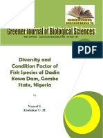 Diversity and Condition Factor of Fish Species of  Dadin Kowa Dam, Gombe State, Nigeria