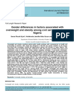 Gender differences in factors associated with overweight and obesity among civil servants in Lagos, Nigeria